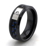 Black Ceramic with Blue Carbon Fiber Ring and single CZ