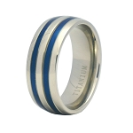 Men's Titanium Wedding Band with Two Blue Enamel Inserts