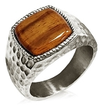 Stainless Steel Hammer Style Cherry Wood Inlay Signet Style Ring