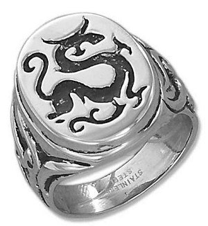 STAINLESS STEEL MENS DRAGON RING