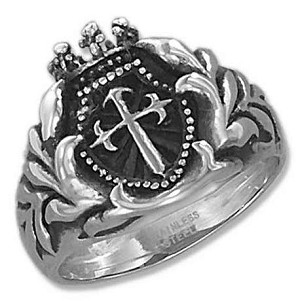 STAINLESS STEEL MENS ST JAMES CROSS RING