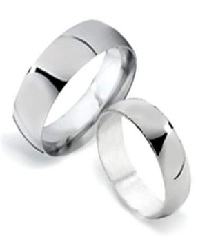 6mm classic sterling silver matching couple wedding rings