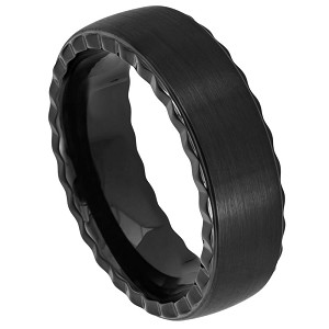 Black IP Plated Pipe Cut Brushed Center with Grooved Sides Tungsten Ring l 7mm