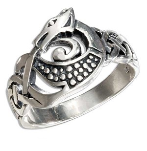 STERLING SILVER CELTIC DRAGON RING