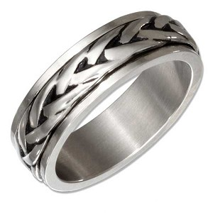 Stainless Steel 7mm Braided Spinner Ring