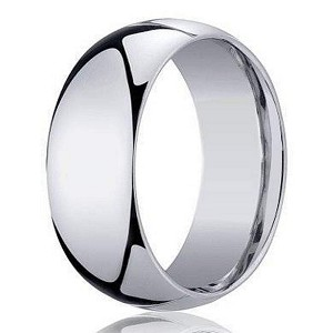 Designer 8 Mm Domed Comfort Fit 10k White Gold Wedding Band Jb1012