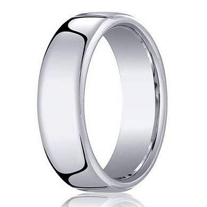 14K White Gold Men's Designer Wedding Ring with Heavy Fit | 6.5mm