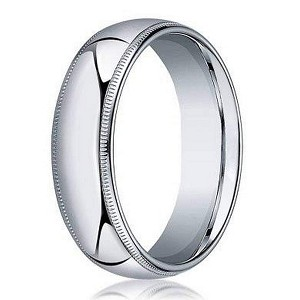 Designer 5 mm Domed Milgrain Polished Finish with Comfort-fit 10K White Gold Wedding Band - JB1049