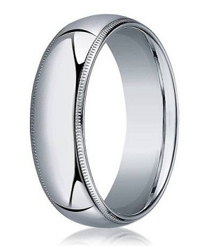 Designer 7 mm Domed Milgrain Polished Finish with Comfort-fit 10K White Gold Wedding Band - JB1051