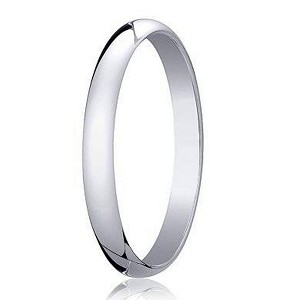 Designer 2 mm Traditional Domed Polished Finish 10K White Gold Wedding Band - JB1088