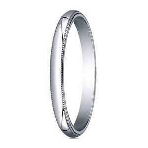 Designer 2 mm Traditional Fit Milgrain 14K White Gold Wedding Band - JB1107