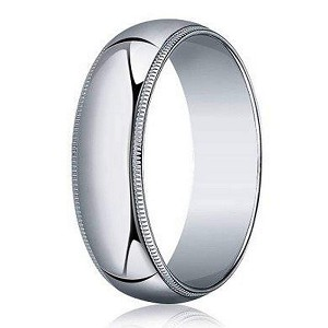 Designer 5 mm Traditional Fit Milgrain 14K White Gold Wedding Band - JB1110