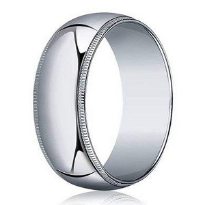 Designer 7 mm Traditional Fit Milgrain 10K White Gold Wedding Band - JB1098