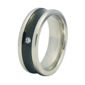 Black Finish Stainless Steel Wedding Band with Single CZ| 8mm