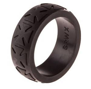9mm Heavy Duty Black Silicone Ring with Cross Design