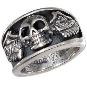 Men's Sterling Silver Skull Ring with Wings - JP1807
