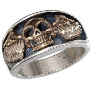 Men's Bronze Skull with Wings Silver Ring - JP1808