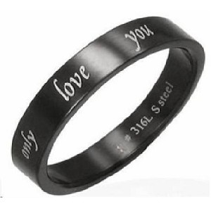 "Black Stainless Steel ""Only Love You"" Ring - JSS0075"