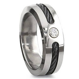 Men's Titanium Black Cable Ring with Polished Finish and CZ