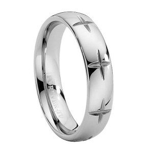 Men's Tungsten Band with Crosses Carved into Ring - JTG0018