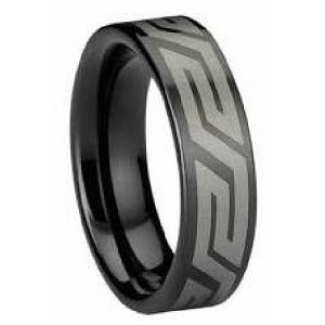 Black Tungsten Ring With Aztec Design Just Men S Rings