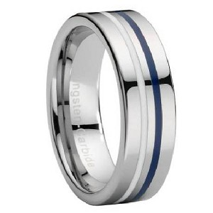 Tungsten Ring with White & Navy Blue Enamel Stripe - JTG0050