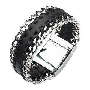 Men's Black Leather Bracelet with Stainless Steel Curb at Both Sides