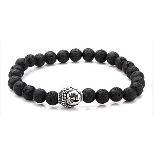 8mm Black Lava Satin Finish Beads Bracelet with Stainless Steel Buddha Head Charm