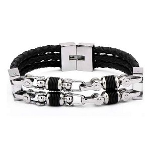 Men's Black Braided Leather Bracelet with Center Chain Style
