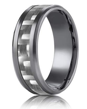 Benchmark  Tantalum 8mm Carbon Fiber Design Ring