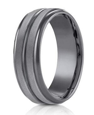 Tantalum 8mm Powder Coated Finish Horizontal Center Cut Beveled Edge Design Ring