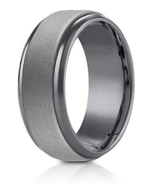 Forge Tantalum 9mm Powder Coated Finish High Polish Beveled Edge Design Ring