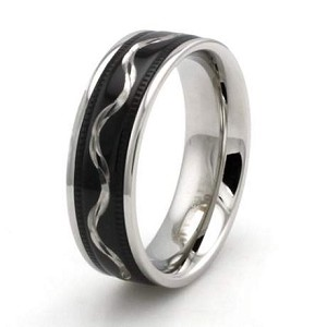 Two-Tone Stainless Steel Wave Ring