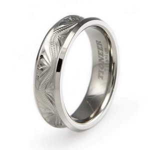 Titanium Handcrafted Floral Design Concave Wedding Band