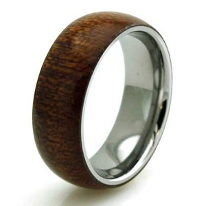 Stainless Steel Mahogany Wood Inlay Domed Ring