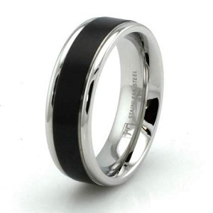Two-Tone Stainless Steel Grooved Black Resin Strip Ring