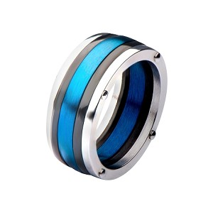 Steel, Black IP & Blue IP Polished Ring