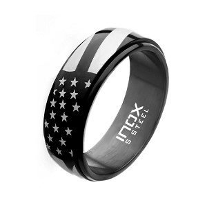 Steel and Black Plated Spinner American Pride Ring