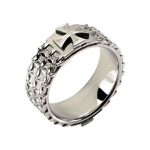 Stainless Steel Detailed Cross Ring
