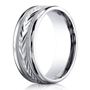 "Palladium ""Harvest of Love"" Wedding Ring with Carved Design and Polished Edges 