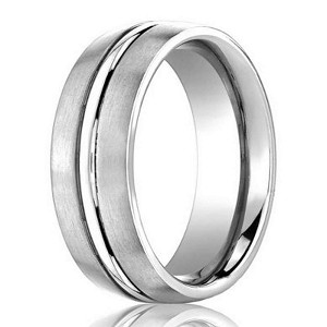 Designer 950 Platinum Wedding Ring with Polished Center Groove | 4mm