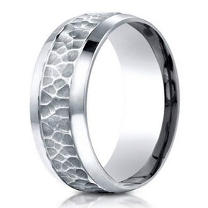 Designer 950 Platinum Hammered Finish Men's Wedding Ring | 7.5mm
