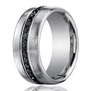 designer 950 platinum black diamond mens wedding ring 75mm - Black Mens Wedding Ring