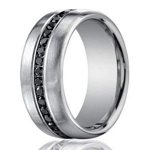 75mm Mens 950 Platinum Black Diamond Eternity Wedding Band