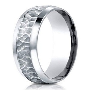 designer palladium wedding ring with hammered finish 75mm - Palladium Wedding Rings