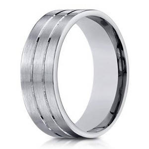 Satin-Finished 10K White Gold Designer Wedding Ring with Polished Grooves | 6mm - JB0302