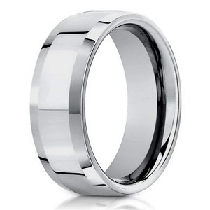 Polished 10K White Gold Designer Wedding Ring with Beveled Edges | 6mm - JB0306