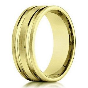 Designer 10K Yellow Gold Wedding Band With Polished Cuts | 6mm