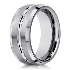 mens 10k white gold wedding band with polished beveled edges 6mm - Mens White Gold Wedding Ring