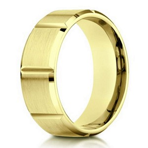Designer Men's 10K Yellow Gold Band With Vertical Grooves | 6mm